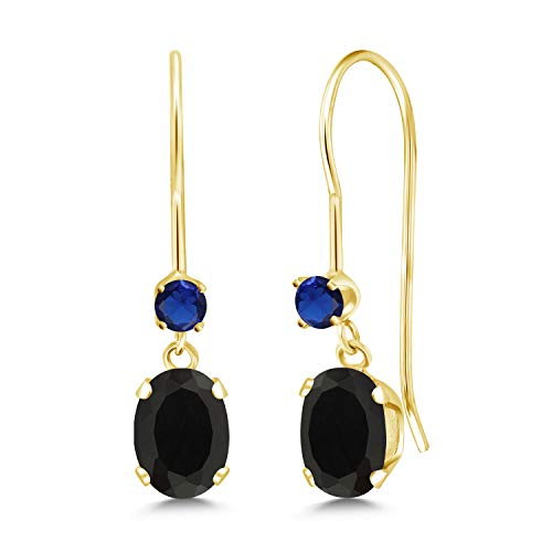 Gem Stone King 0.90 Ct Oval Black Onyx Blue Simulated Sapphire 14K Yellow Gold Earrings ()