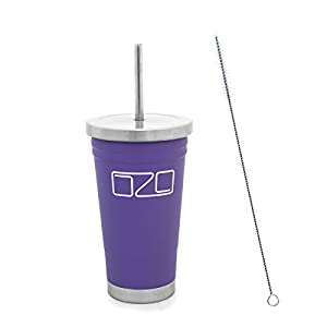 The Tumbler by OZO – Premium Stainless Steel Vacuum Insulated Travel Mug, Hot or Cold Drinks with Straw and Brush, 16oz capacity, in Lavender / Light Purple
