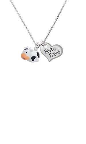Resin Black and White Cow - Best Friend Heart Necklace