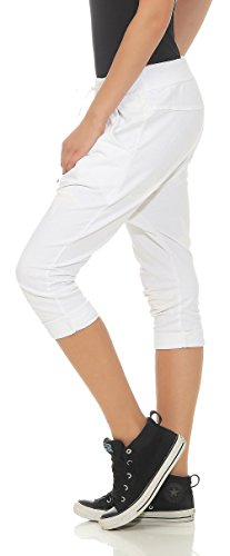 Pantaloni Bianco Unica malito Donna Taglia Boyfriend breve con 8013 8015 bottone RUzUPw5q