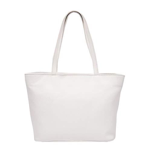 Para Hombro Mujer Color En Piel Peleteria Echa Bolso Blanco Verdadera De Italia R75nxwxEpf