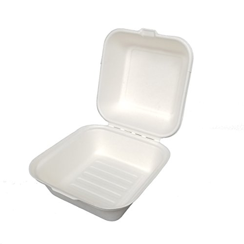 - Earthable- Eco-Friendly, 100% Compostable, Renewable and Recyclable, with Sugarcane Fiber Heavy Duty Disposable Take Out Container Clamshell Boxes (125 Piece, 6