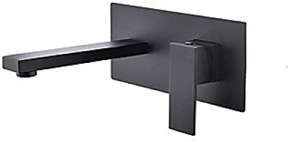 ZJN-JN 蛇口 バスルームのシンクは、スロット付き浴室の洗面台のシンクホットコールドタップミキサー流域の真鍮シンクミキサータップ非震とうバスルームのシンクの蛇口ワイドブラックウォールは、シングルハンドルの二つの穴の浴室の蛇口をマウントタップ 台付