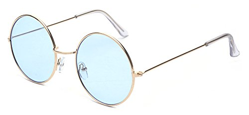 ALWAYSUV Metal Full Frame PC Round Circle Lens Retro John Lennon - Round Blue Glasses