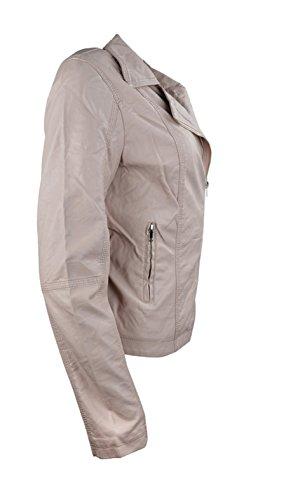 mujeres costura Faux Ladies constituyen Pink Llanura Leather Jacket Las avpAwq