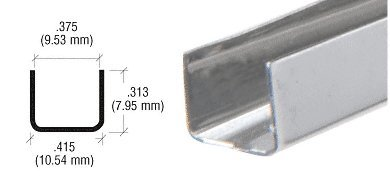 CRL 3/8'' Stainless Steel ''U'' Channell - Pack of 10 - 12 ft Each by C.R. Laurence (Image #1)