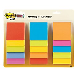 Post-it Super Sticky Notes, 3 in x 3 in, Marrakesh and Rio de Janeiro Collections, 15 Pads/Pack, 45 Sheets/Pad (654-15SSMULTI) by Post-it