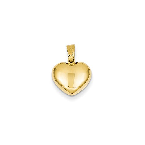 14k Yellow Gold Puffed Heart Charm or Pendant, 12mm (Heart Charm Puffed 12mm)