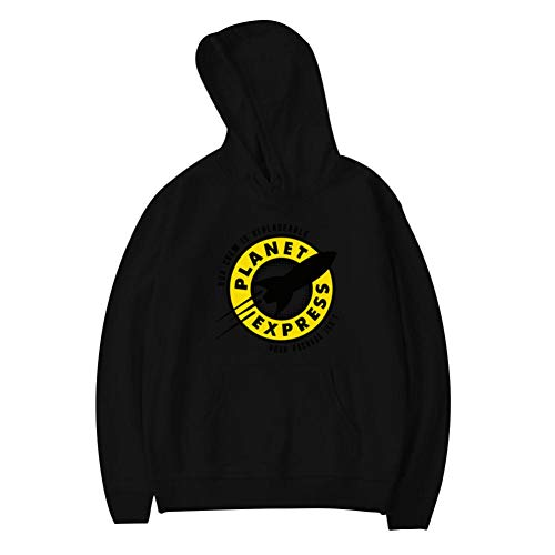 (MoKviq Teen Plus Velvet Hoodie,Creative Planet Logo Hip Hop Printed Youth Classic Pocket Sweatshirt for Boy Girl L Black)