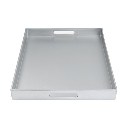 sic Design with Metallic Finish style Decorative tray (Rectangular Straight Silver) (Metal Rectangular Tray)