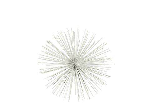 (Urban Trends Metal Sea Urchin Ornamental Sculpture Wall Decor MD Coated Finish White, Medium)