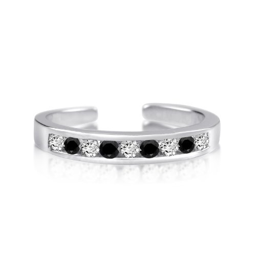 Rhodium Plated Sterling Silver Toe Rings Round Cut Cubic Zirconia White and Black Channel Set