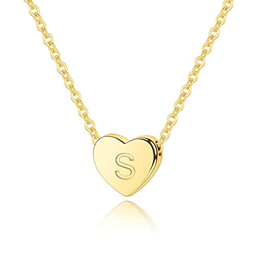 M MOOHAM Initial S Necklace Gifts for Women - 14K Gold Filled Heart Initial Necklace, Tiny Initial Necklace for Girls Kids Children, Heart Initial Necklace Jewelry Best for Women Girls