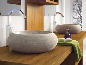 bathco – bathco Waschbecken auf Waschtischplatte Stein Fiji beige ... | {Waschtischplatte stein 90}
