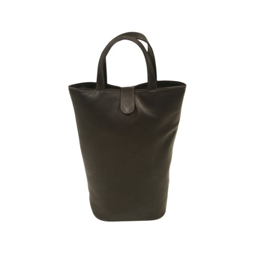Piel Leather Doulbe Wine Tote, Chocolate, One Size