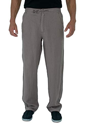 Short Fin Men's 100% Linen Drawstring Pants with Elastic Waistband (L8021L Pewter 34X32)