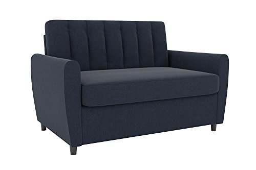 Sofa Sleeper Sofa Couch - Novogratz Brittany Sleeper Sofa, Premium Linen Upholstery and Wooden Legs, Blue Linen