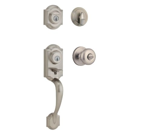Kwikset Montara Single Cylinder Handleset w/Juno Knob  featuring SmartKey in Satin Nickel ()