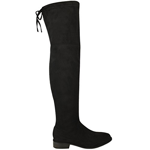 Black Knee High Thirsty Fashion Size Heel Boots Thigh Womens Faux Over Suede The Up Block Lace Low Slouch RAwYZxq