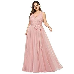 Ever-Pretty Women's Plus Size V-Neck Wrap Empire Waist Tulle Bridesmaid Dress 7303PZ