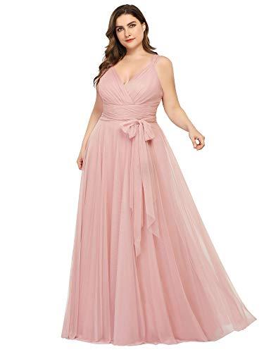 Women's Plus Size V-Neck Wrap Empire Waist Tulle Bridesmaid Dress Blush US22