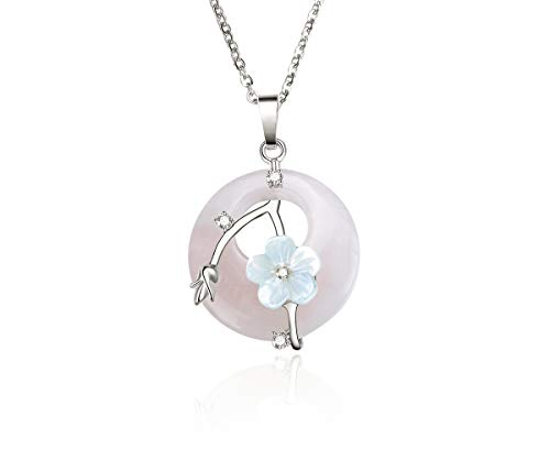 "Injoy Jewelry Rose Quartz Gemstone Necklace Flower Wrapped Pendant Necklace Energy Healing Crystal Round Gemstone Pendant Necklace 18"" Stainless Steel Chain"