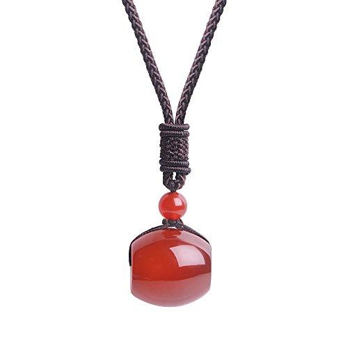 iSTONE Unisex Genuine Round Gemstone Barrel Beads Pendant Necklace 25 inch (Red (Brown Quartz Pendant)