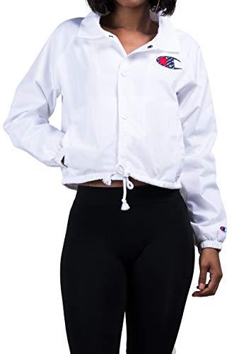 Champion LIFE Women's Cropped Coaches Jacket, White/c Logo, X-Small - Lightweight Coachs Jacket