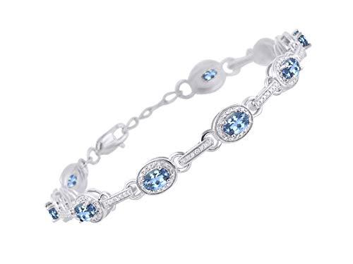 - Stunning Blue Topaz & Diamond Tennis Bracelet Set in Sterling Silver - Adjustable to fit 7