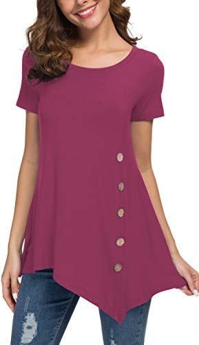 Jouica Women's Short Sleeve Scoop Neck Button Side Tunic Top(S,Mauve)