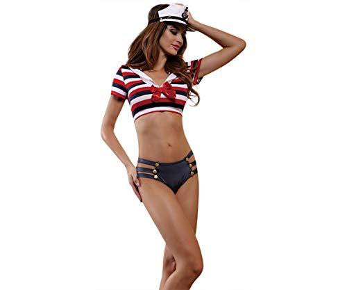 Zanyware Womens Sexy Valentine Sailor Uniform Costume Nightwear with Headpiece]()