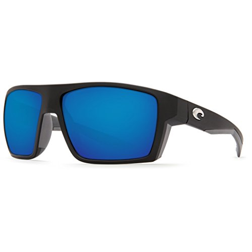 Costa Del Mar Bloke 580G Bloke, Matte Black Matte Gray Blue Mirror, Blue - Del Mar Costa Blue Frame