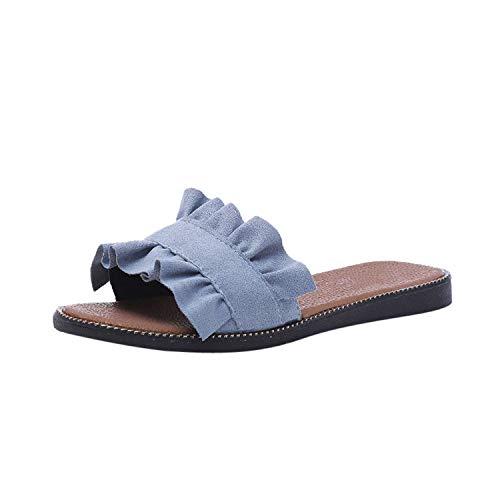 JunXian Flip Flops Casual Slipper Solid Color Indoor Outdoor Womens Slippers,Blue,36