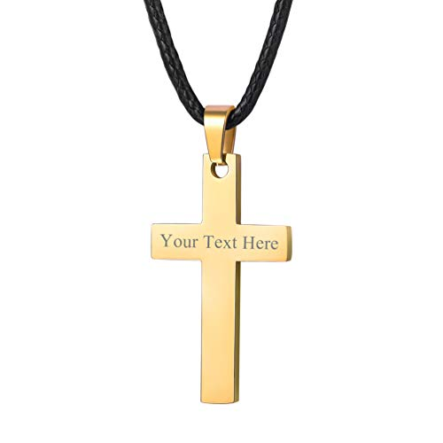 PROSTEEL Personalized Custom Name Cross Necklace Pendant 18K Gold Plated Men Women Catholic Christian Jewelry Gift Black Leather Necklace]()