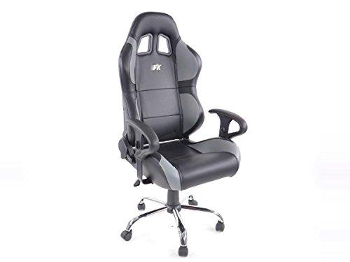 Racing Seat - Silla de oficina gaming Phoenix con reposabrazos cuero sintetico negro/gris