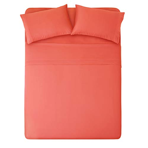 HONEYMOON HOME FASHIONS Bedding Queen Sheet Set Triple Row Embroidery 4 Pieces Living Coral ()