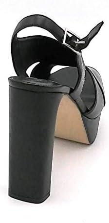 Adele Dezotti AV3002 - Sandalia de piel negra con correa de tacón de 12 cm - Talla de zapato 41 EU color negro