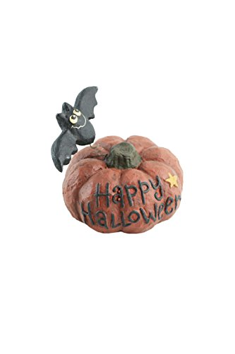 Craft Outlet Papier Mache Pumpkin with Bat Figurine, 4.75-Inch