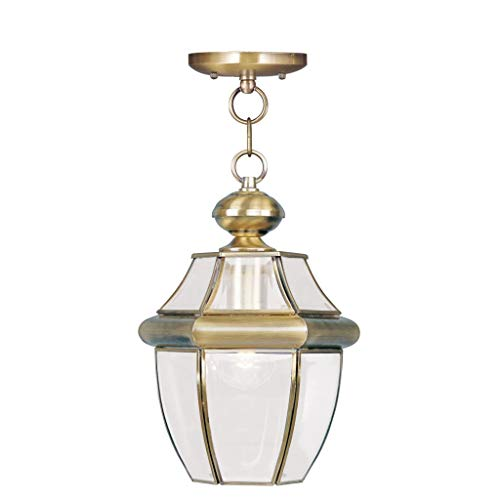 Brass Functional 3 Light - Livex Lighting 2152-01 Monterey 1-Light Outdoor Hanging Lantern, Antique Brass