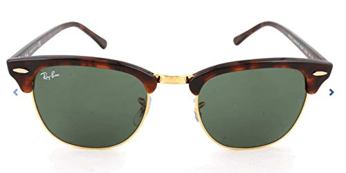 Ray-Ban RB3016 Clubmaster Square Sunglasses, Mock Tortoise Gold/Green, 49 mm (Sunglasses Ray-ban)