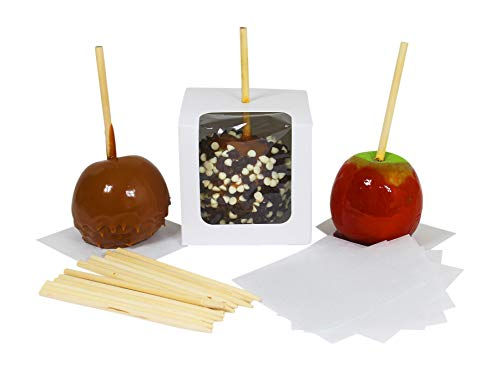Candy Apple Boxes with Sticks and Parchment Squares. 4x4x4 Caramel or Candied Apple Gift Boxes with Clear Window. Packaging Set Includes 10 Boxes, Sticks and Parchment Squares. White (10, White)]()