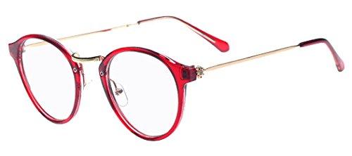 D.King Women Fashion Cat Eyeglasses Frames Purplishred Frame Clear Lens - Frames Latest Eye