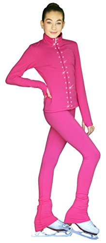 ChloeNoel PS735 Solid Over-The-Hill Elite Figure Skating Pants with Front Pocket and Swarovski Crystal Block(Size CXXS, Fuchsia)