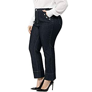 Agnes Orinda Women's Plus Size Pants Straight Stretch Button Pockets Zip Denim Jeans