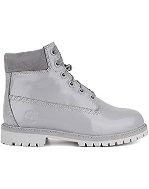 Big Kids 6 Inch Premium Grey Shinny Boots
