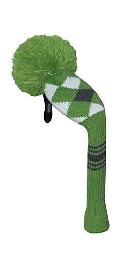 Golf-Hybrid-Head-Cover-Green-Grey-White-Argyle-Grey-Stripes