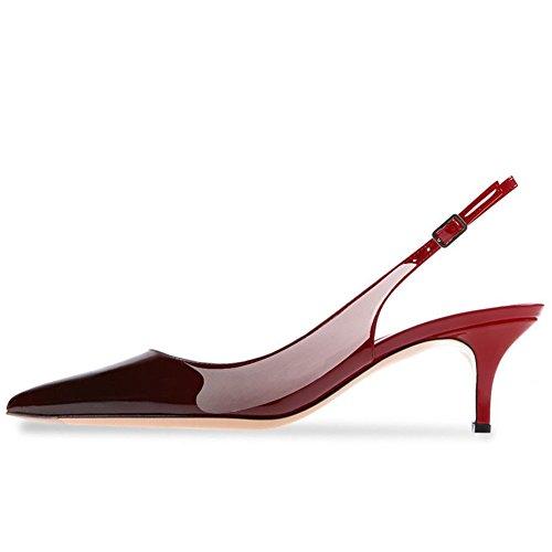 Kmeioo Kitten Heels Pumps, Pointed Toe Slingback Sandals Ankle Strap Low Heel Pumps Evening Party Wedding Shoes 6.5CM-Red Black-(US 10M) Denim Patent Leather Sandals