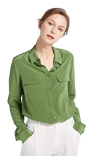 (LilySilk Women's 100% Silk Blouse Long Sleeve Ladies Shirts 18 Momme Silk Kale Green Size S)