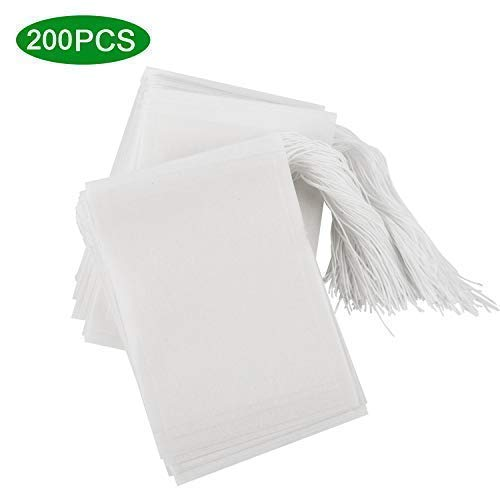 200PCS Tea Filter Bags, Disposable Empty Tea Bags with Drawstring Safe & Natural Material, 1-cup Capacity, Fill Your Own Tea for Herb, Coffee & Loose Leaf Tea (3.6x 2.8 inch)