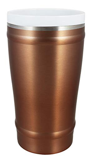 - CeramiSteel 16 ounce Beer Pint Glass with Lid | Ceramic Coated Stainless Steel | Vacuum Insulated and BPA Free | Copper Paint Finish